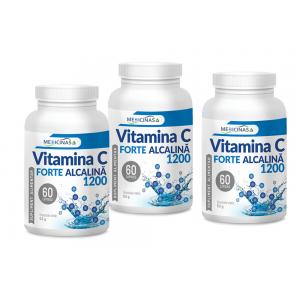 Vitamina C Forte Alcalină 1200mg - Pachet 3 luni - Cea mai puternică vitamină C de la Medicinas, 60cps.